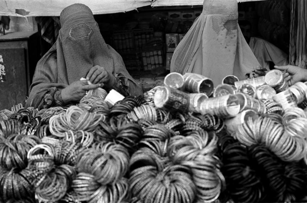 Women shopping for bangles at a bazaar, Kandahar, August 2004